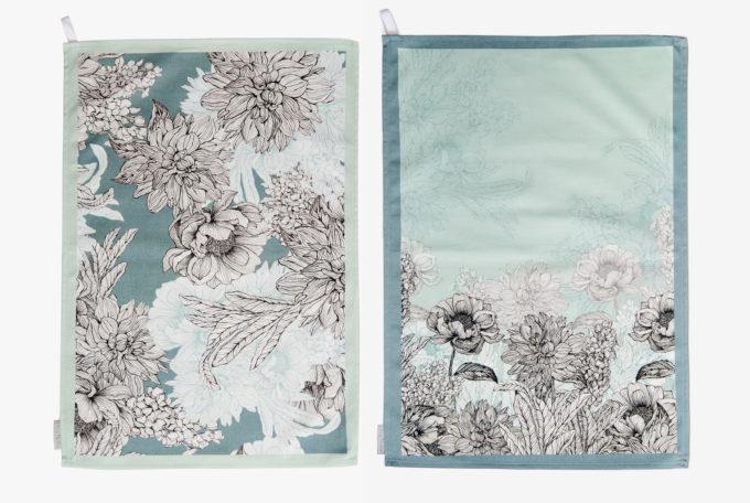 Teal & Sea Mist cotton tea towel pair