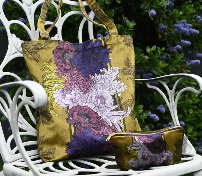 Olive & Aubergine Tote l Velvet shopping bag