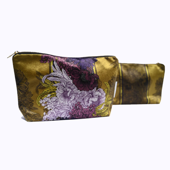 Washbag, Olive & Aubergine velvet l made in England
