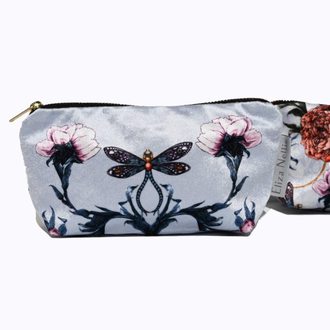 Lavender Grey make up bag, cosmetic purse Made in UK