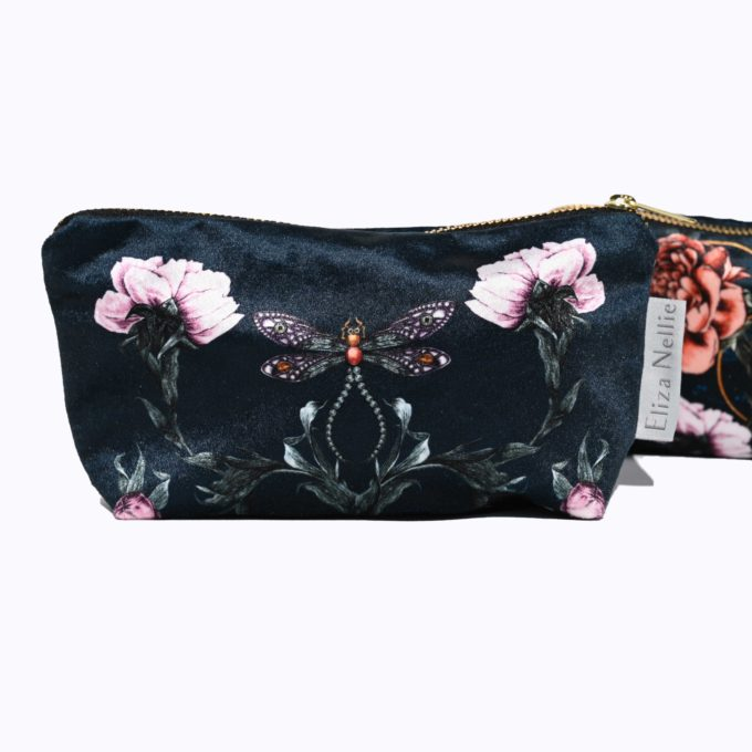 Make up bag l cosmetic purse in Velvet l Made in England