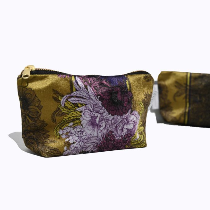 Make up bag l Cosmetic purse, velvet Olive & Aubergine