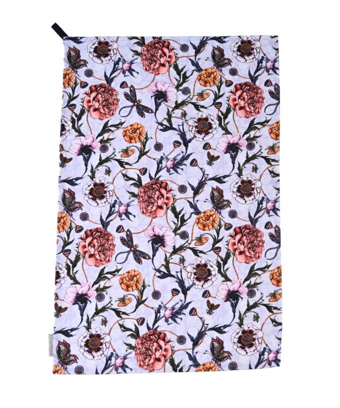 Mystical Garden tea towel in Lavender