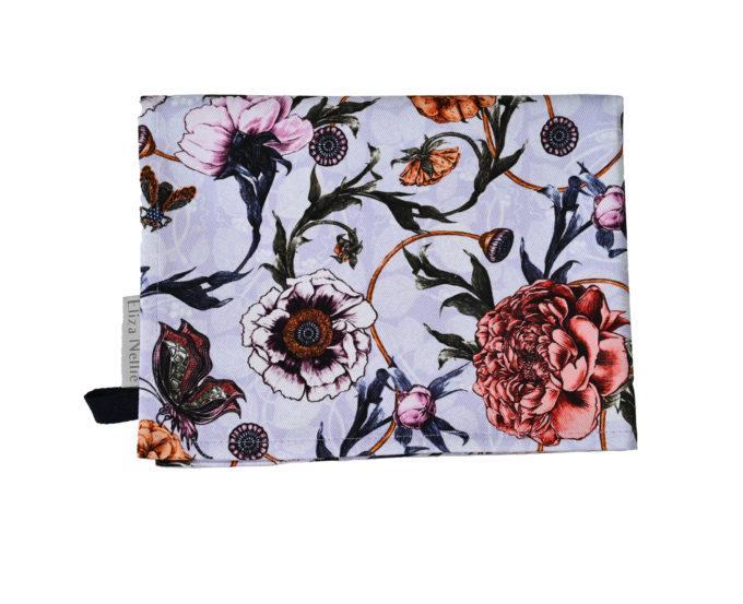Mystical garden tea towel folded in Lavender