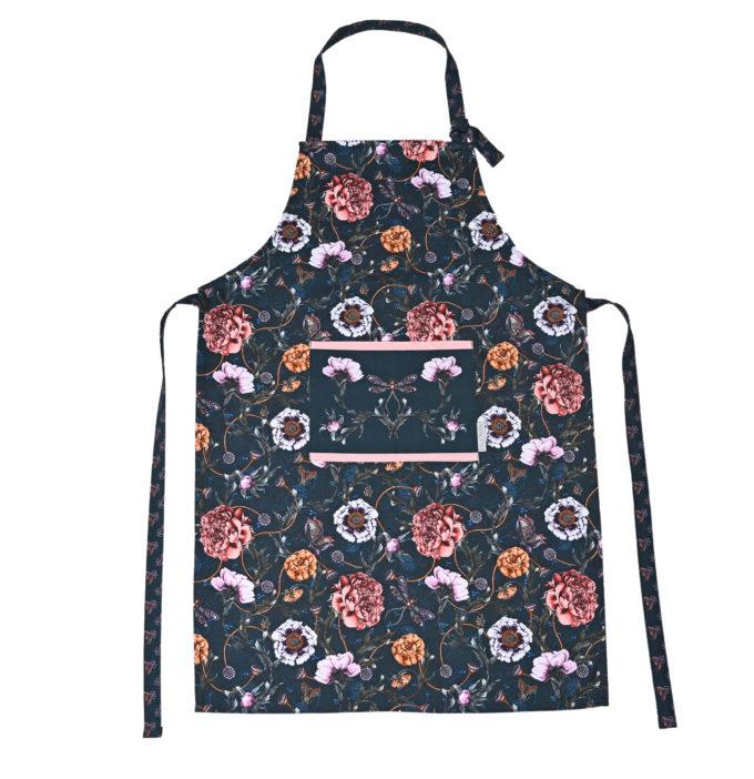 Mystical Garden apron in Midnight navy