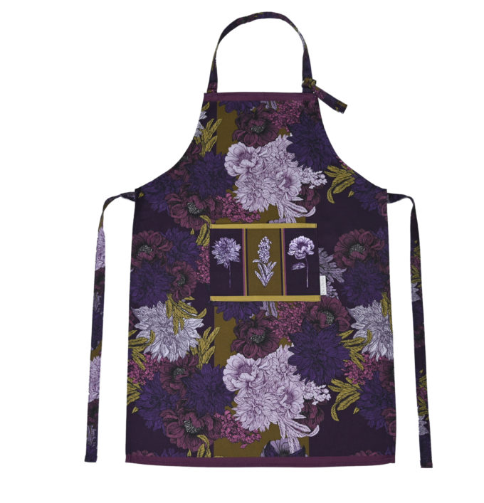 Bring Me Flowers apron in Olive and Aubergine