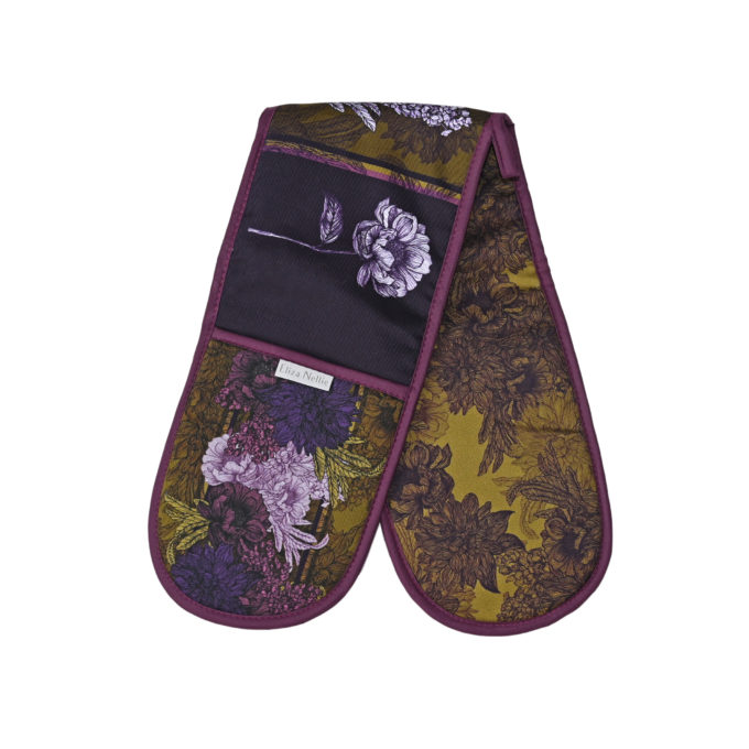 Bring Me Flowers oven gloves in Olive & Aubergine