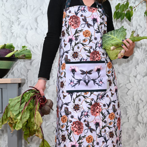 Mystical Garden apron on lavender