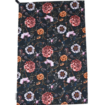 Mystical Garden Navy tea towel
